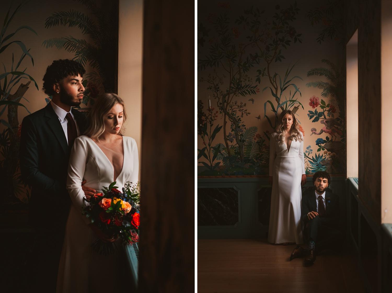Villa Terrace Milwaukee Wedding Photography - bride & Groom portrait session, romantic, dark and moody