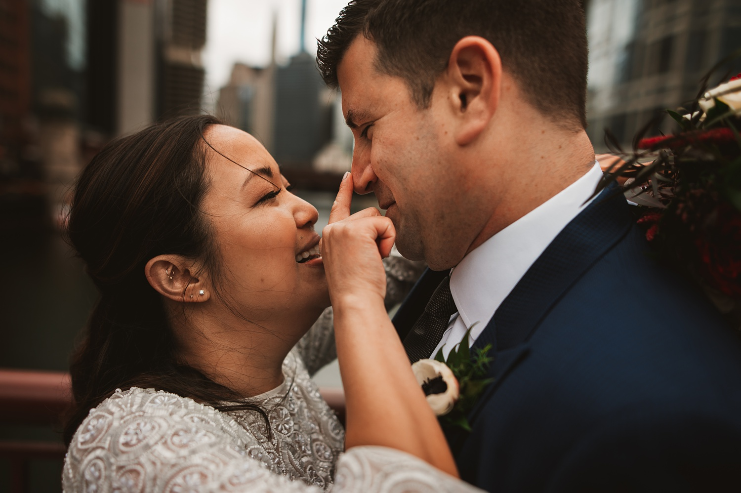 LaSalle Street Bridge wedding photos - The Adamkovi