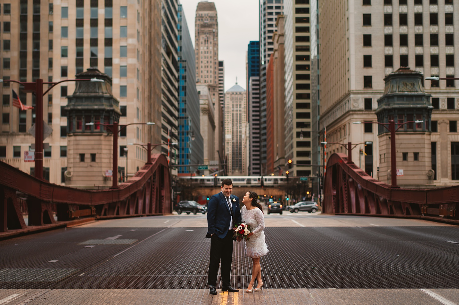 LaSalle Street Bridge wedding photos - The Adamkovi, in the middle of the street